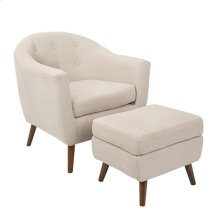 Rockwell Chair + Ottoman Set - Walnut Wood, Beige Fabric