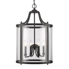 Payton 4 Light Pendant in Black with Clear Glass