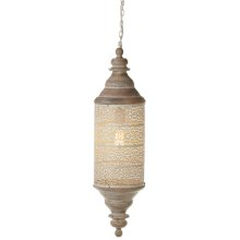 Whitewash Cylindical Lantern Pendant with Cutouts. 60W Max. Hard Wire Only.