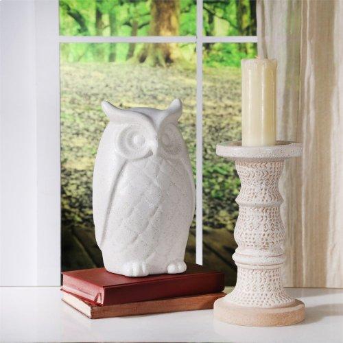 "Ceramic Owl Decor 9.75"", White"