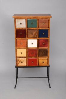 """#149 15 Drawer Apothecary on Iron 20""""wx10.5""""dx42""""h."""
