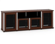 Synergy Solution 345, Quad-Width AV Cabinet, Walnut with Aluminum Posts