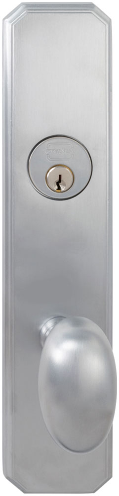 Exterior Traditional Mortise Entrance Knob Lockset with Plates in (US26D Satin Chrome Plated)