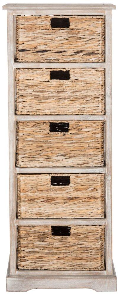 Vedette 5 Wicker Basket Storage Tower - Vintage White