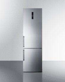 European Counter Depth Bottom Freezer Refrigerator With Icemaker, Stainless Steel Doors, Platinum Cabinet, and Digital Controls for Each Section\n