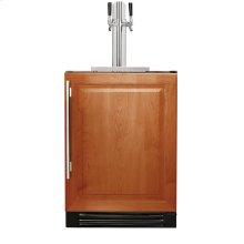 24 Inch Dual Tap Overlay Solid Door Beverage Dispenser - Left Hinge Overlay Solid
