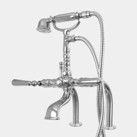 Exposed Deck Mount Telephone Tub Filler and Handshower Set with Straight Legs shown with Monte Carlo handles