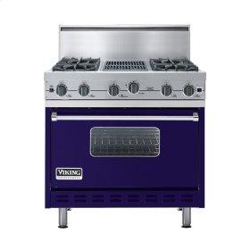 """Cobalt Blue 36"""" Open Burner Commercial Depth Range - VGRC (36"""" wide, four burners 12"""" wide char-grill)"""