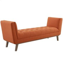 Haven Tufted Button Upholstered Fabric Accent Bench in Orange