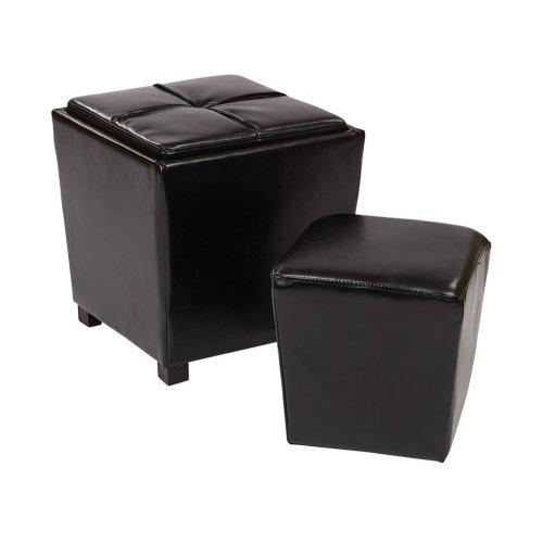 2-piece Black Bonded Leather Ottoman Set