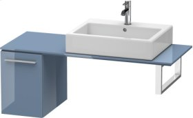 Low Cabinet For Console, Stone Blue High Gloss Lacquer