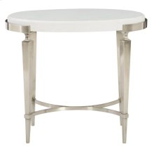 Domaine Blanc Oval Side Table in Domaine Blanc Dove White