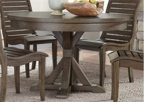 185-4848/C2001S  Round Dining Table Top and 4 Chairs