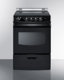 """24"""" Wide Smoothtop Electric Range In Black, With Low 'slide-in' Backguard and Storage Drawer"""