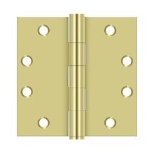 """4 1/2"""" x 4 1/2"""" Square Hinges, HD - Polished Brass"""