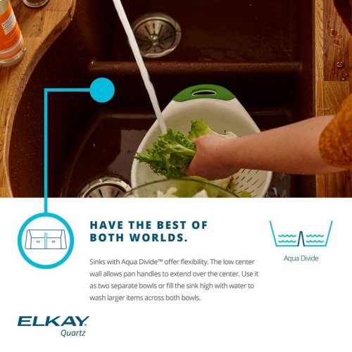 "Elkay Quartz Classic 33"" x 20"" x 9-1/2"", Equal Double Bowl Undermount Sink with Aqua Divide, Putty"