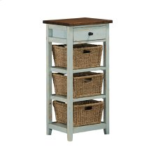 Tuscan Retreat® 3 Basket 1 Drawer Open Side Stand - Sea Blue With Antique Pine Top