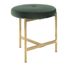 Chloe Vanity Stool - Gold Metal, Green Velvet