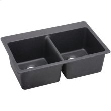 """Elkay Quartz Luxe 33"""" x 22"""" x 9-1/2"""", Equal Double Bowl Drop-in Sink, Charcoal"""