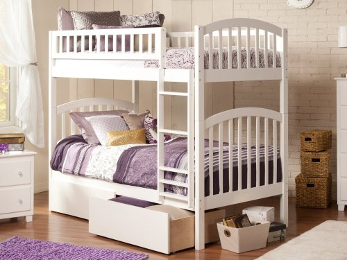 Richland Bunk Bed Twin over Twin with Urban Bed Drawers in White
