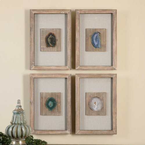 Agate Stone Shadow Box, S/4