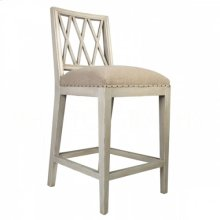 Swedish COUNTER Stool Antique Gray/Washed Textured Linen