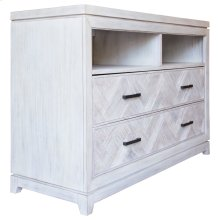 Media Chest, Available in Rustic Grey or Rustic White Finish.