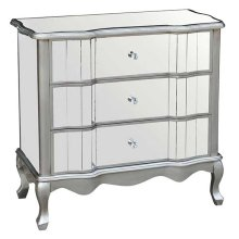 CABINET SILVER 3 DRAWERS MIRROR GLASS / MDF WITH SOLID WOOD LEGS