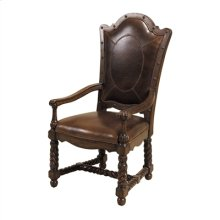 HAND CARVED DARK ANTIQUE LIDO FINISHED ARMCHAIR, BROMPTON BR OWN LEATHER, OVAL PATTERN
