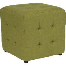 Avendale Tufted Upholstered Ottoman Pouf in Green Fabric