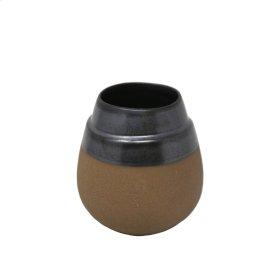 """Silver/brown Clay Vase 7.75"""""""