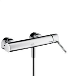 Chrome Single lever shower mixer for exposed installation with round lever handle
