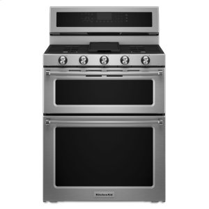 KitchenAid30-Inch 5 Burner Dual Fuel Double Oven Convection Range - Stainless Steel