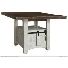 Wooden Counter Height Table, Central Cabinet with 2 Sliding doors