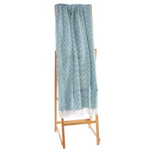 White & Sea Green Box Diamond Throw