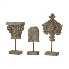 Auvergne Finials In Aged Corbel Stone - Set of 3