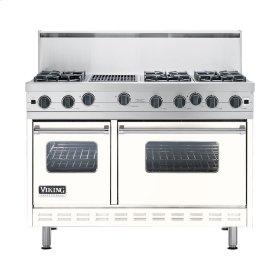 "Cotton White 48"" Open Burner Commercial Depth Range - VGRC (48"" wide, six burners 12"" wide char-grill)"