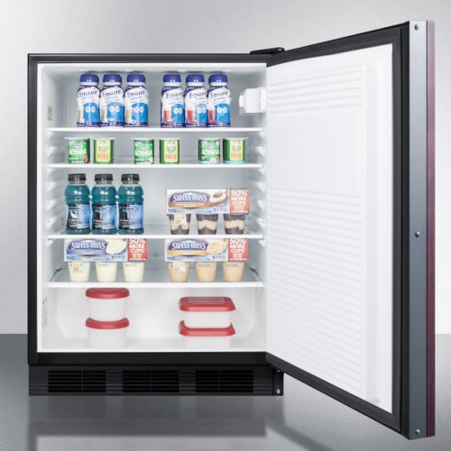 ADA Compliant Built-in Undercounter All-refrigerator for General Purpose Use, Auto Defrost W/integrated Door Frame for Overlay Panels, Lock, Black Cabinet
