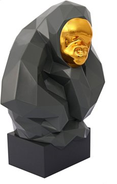 Pondering Ape Sculpture - Grey and Gold Product Image
