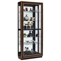 Inlaid Sliding Door 5 Shelf Curio Cabinet in Duotone Brown Product Image