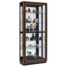 Inlaid Sliding Door 5 Shelf Curio Cabinet in Duotone Brown
