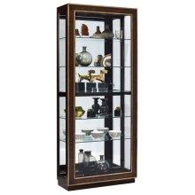 Inlaid Sliding Door 5 Shelf Curio Cabinet in Duotone Brown