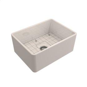 "Calixo Single Bowl Fireclay Farmer Sink - 24"" - Bisque"