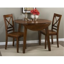 Simplicity Caramel Drop Leaf Table With Two X Back Chairs
