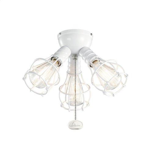 3 Light Industrial Decorative Fitter Light Kit White