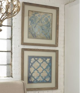 Stained Glass Indigo Framed Prints,