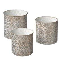 White and Gold Brocade Round Nesting Storage set/3