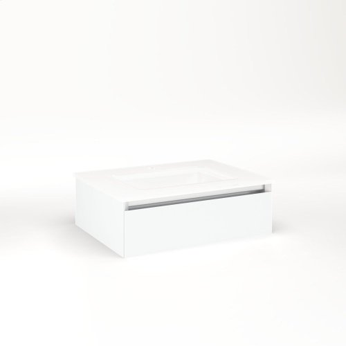 """Cartesian 24-1/8"""" X 7-1/2"""" X 18-3/4"""" Slim Drawer Vanity In Matte White With Slow-close Full Drawer and No Night Light"""