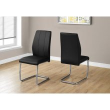 "DINING CHAIR - 2PCS / 39""H / BLACK LEATHER-LOOK / CHROME"