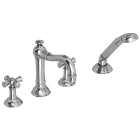 Satin-Bronze-PVD Roman Tub Faucet with Hand Shower